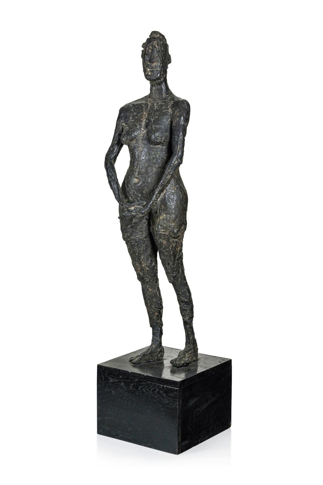 Germaine Richier (1902-1959), La Vierge folle, 1946, bronze à patine brune, 4/6, fonte de Susse, 133x38x20,5cm. Estimation: 200000/