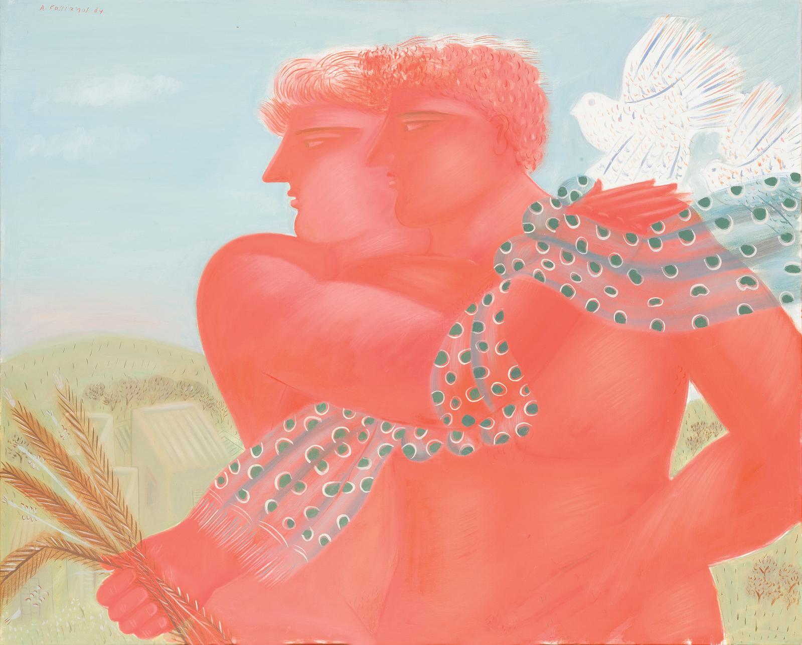 Alekos Fassianos (né en 1935), Le Réveil du matin, 1984, 80,5 x 100 cm. Estimation : 8 000/10 000 €