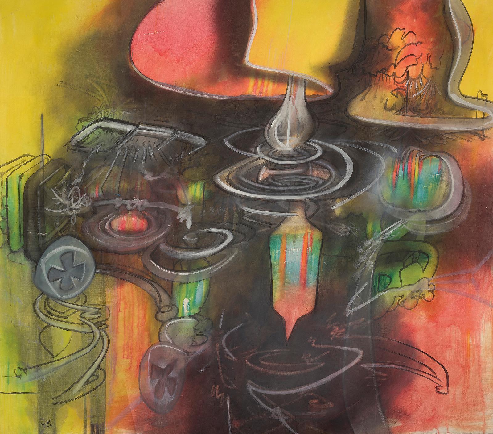 Roberto Matta (1911-2002), Infraréalisme, huile sur toile, 200x243cm, (détail). Estimation: 60000/80000€