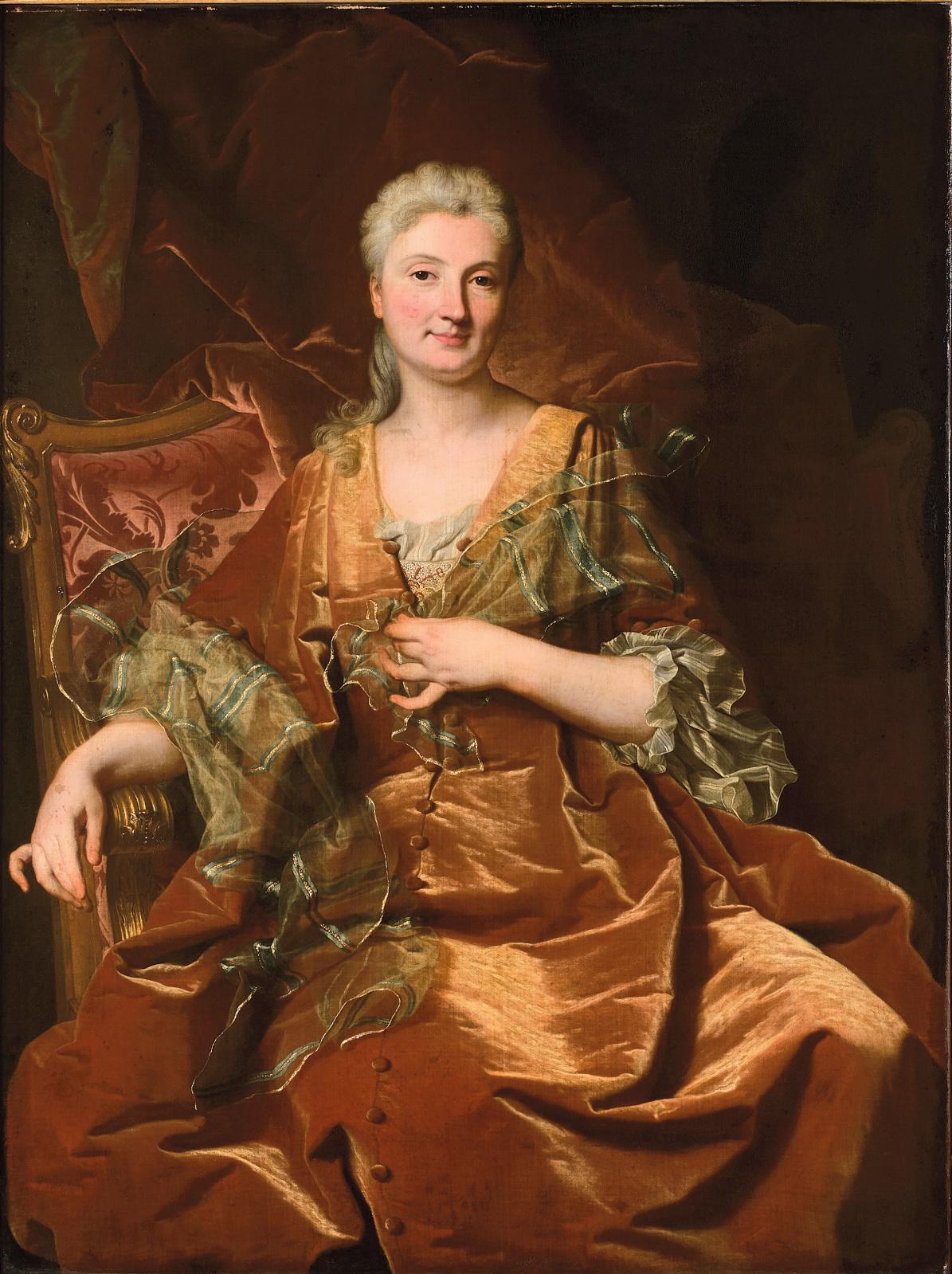 Hyacinthe Rigaud (1659-1743), Portrait de femme, présumé de Charlotte de Fleury de LaJonchère, huile sur toile, 141x99,5cm. Adjugé: 1