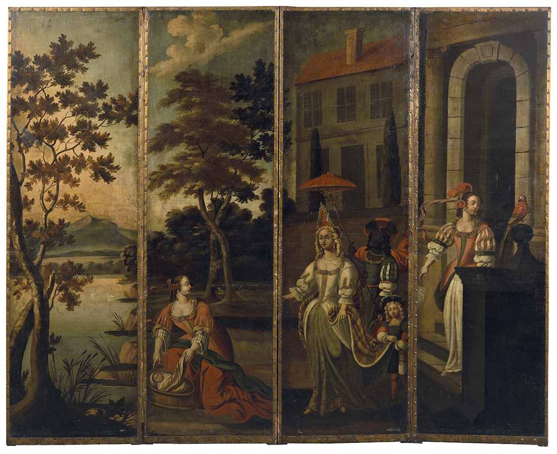 École flamande du milieu du XVIIIesiècle, paravent de centre de pièce, à quatre panneaux peints sur toile, décor toutes faces d'un épisod