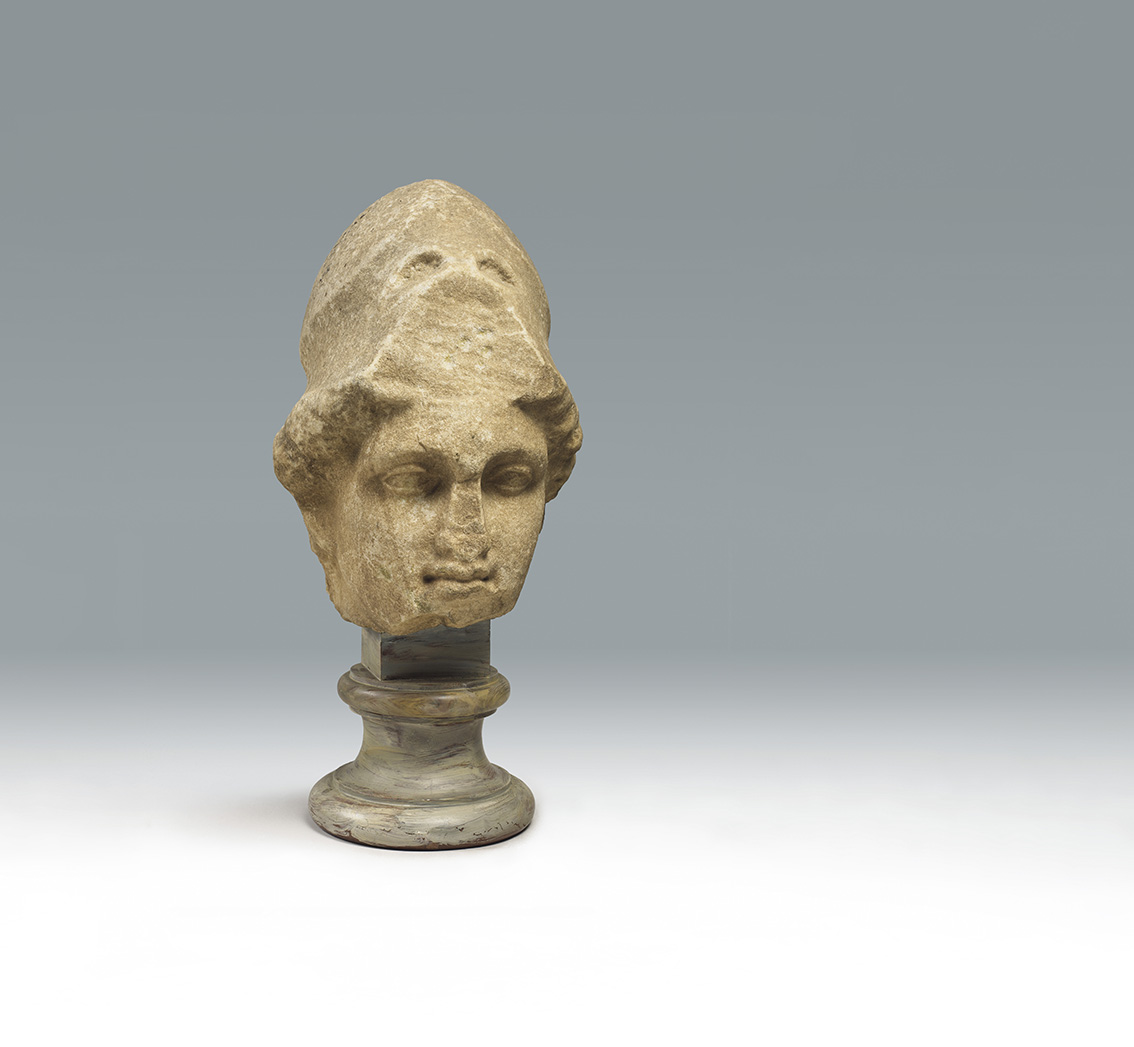 Head of Athena with a Helmet, copy after Greek original of the 5th century BC, Proconnesian marble, stone, head:  37.5 x 25 x 29 cm.Oskar