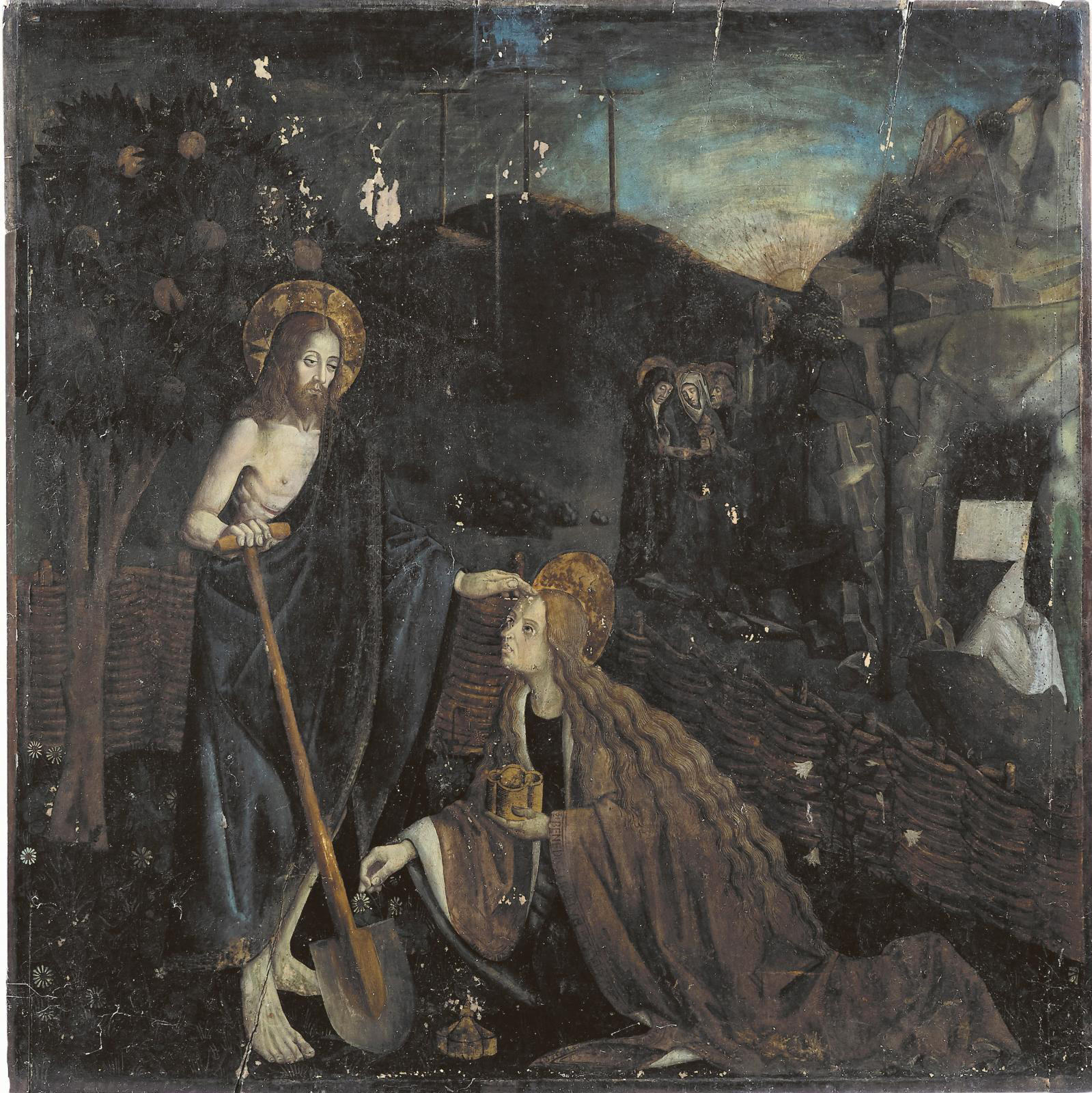 Scandinavian artist working in Provence in the late 15th century, Noli me tangere, oil painting on wood panel, 123 x 124 cm (approximately