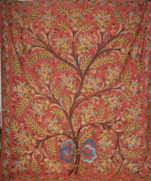 €558Wall hanging, embroidered apricot chain-stitch pashmina in polychrome silk of a blossoming tree, India, 19th century, 86.6 x 72 in.Par
