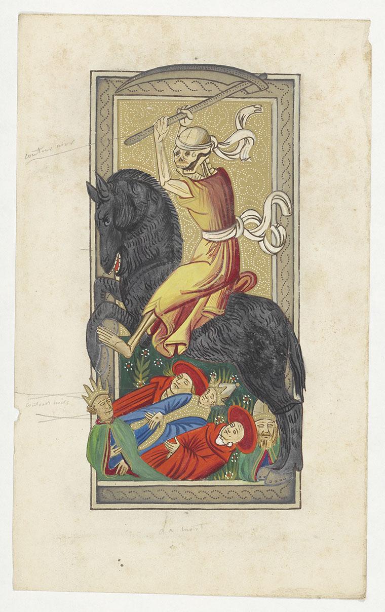 Dessin original pour la reproduction du tarot de Charles VI. © BnF - l'Arsenal, archives de la Société des bibliophiles françois