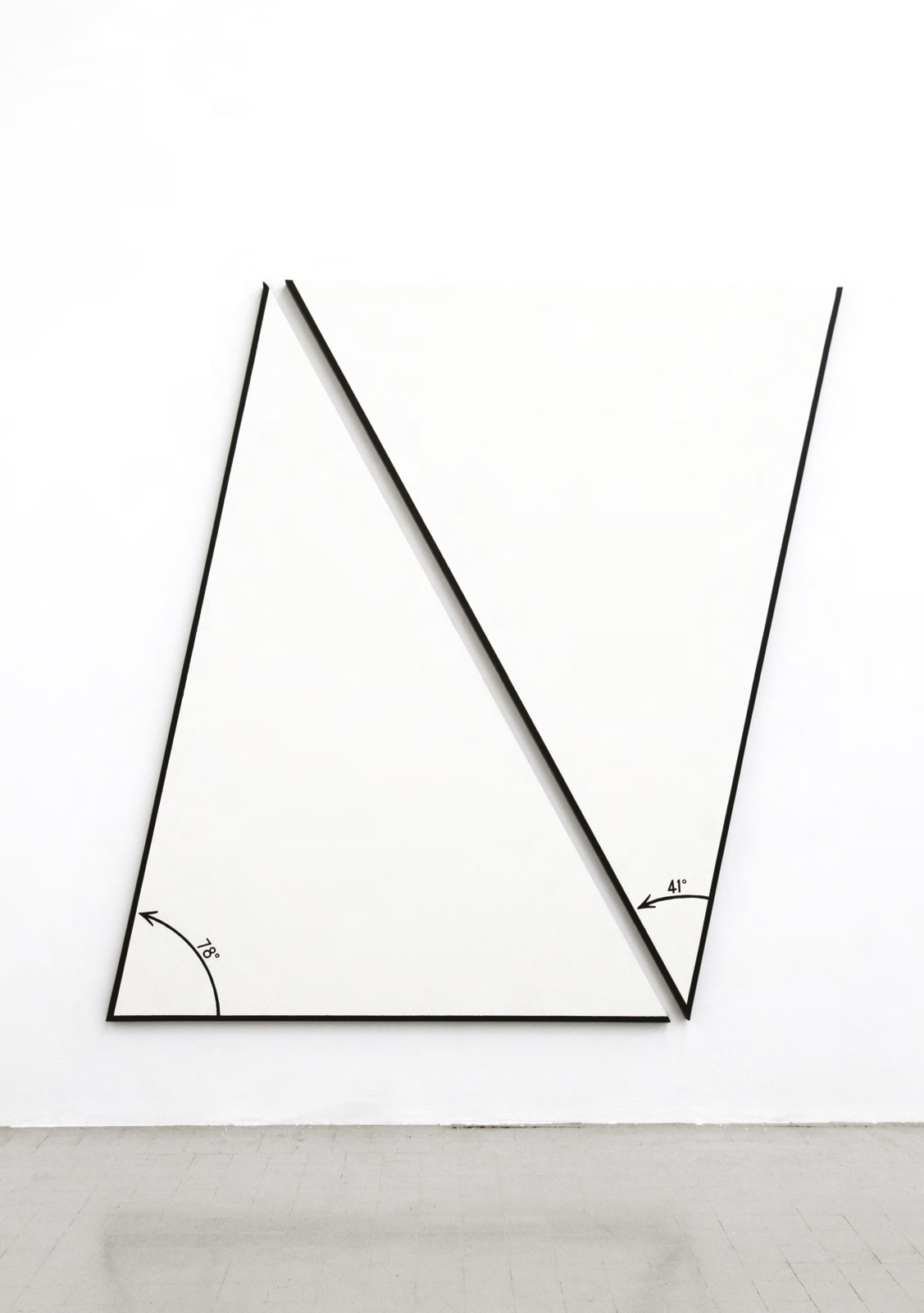 "Bernar Venet (b. 1941), ""Position of Two Angles of 78° and 41°"", 1977, acrylic on canvas, 212 x 210 cm."