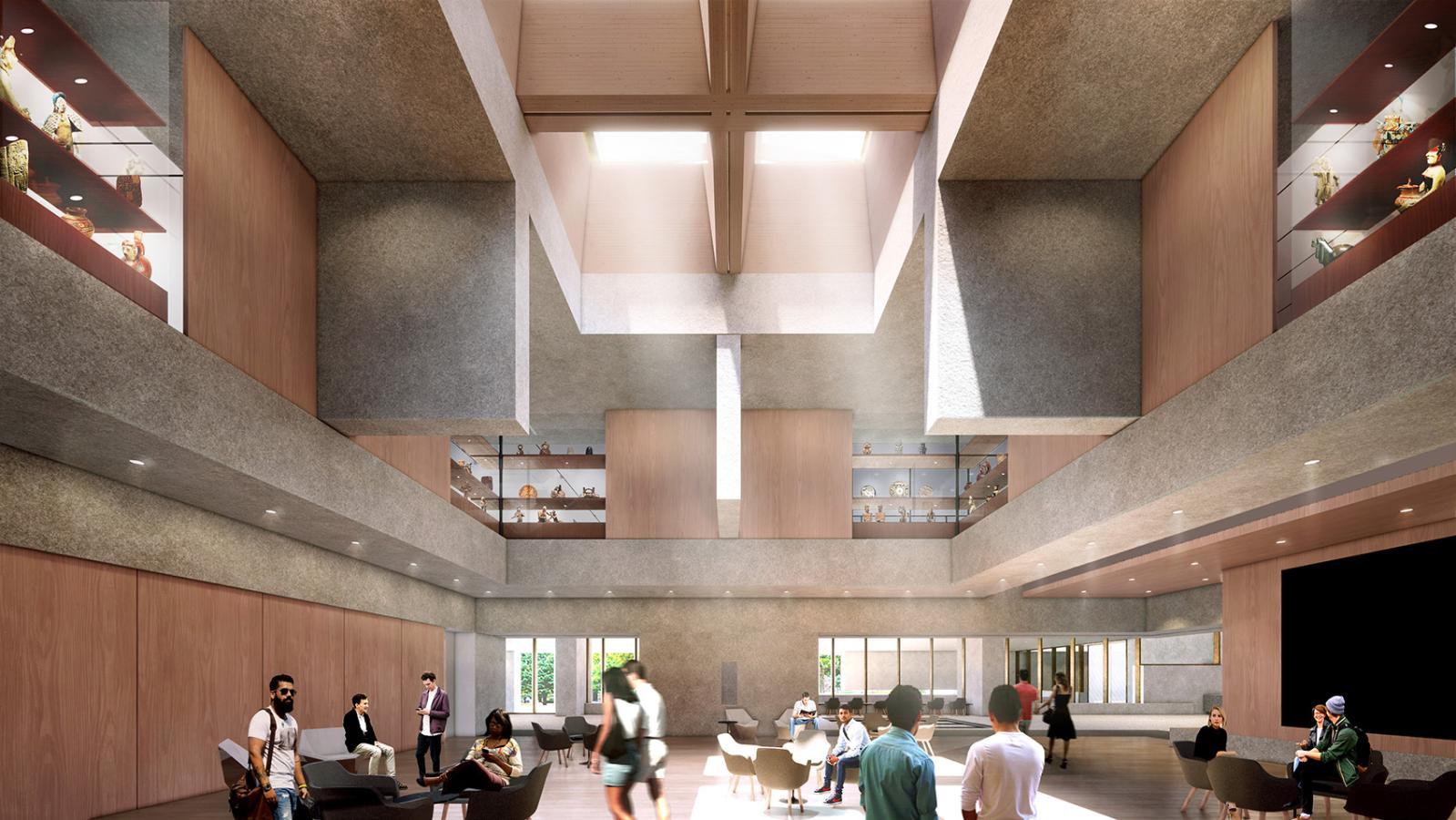 The double-height Grand Hall sits at the heart of the Museum complex and will function as a lecture hall and performance space and will ho