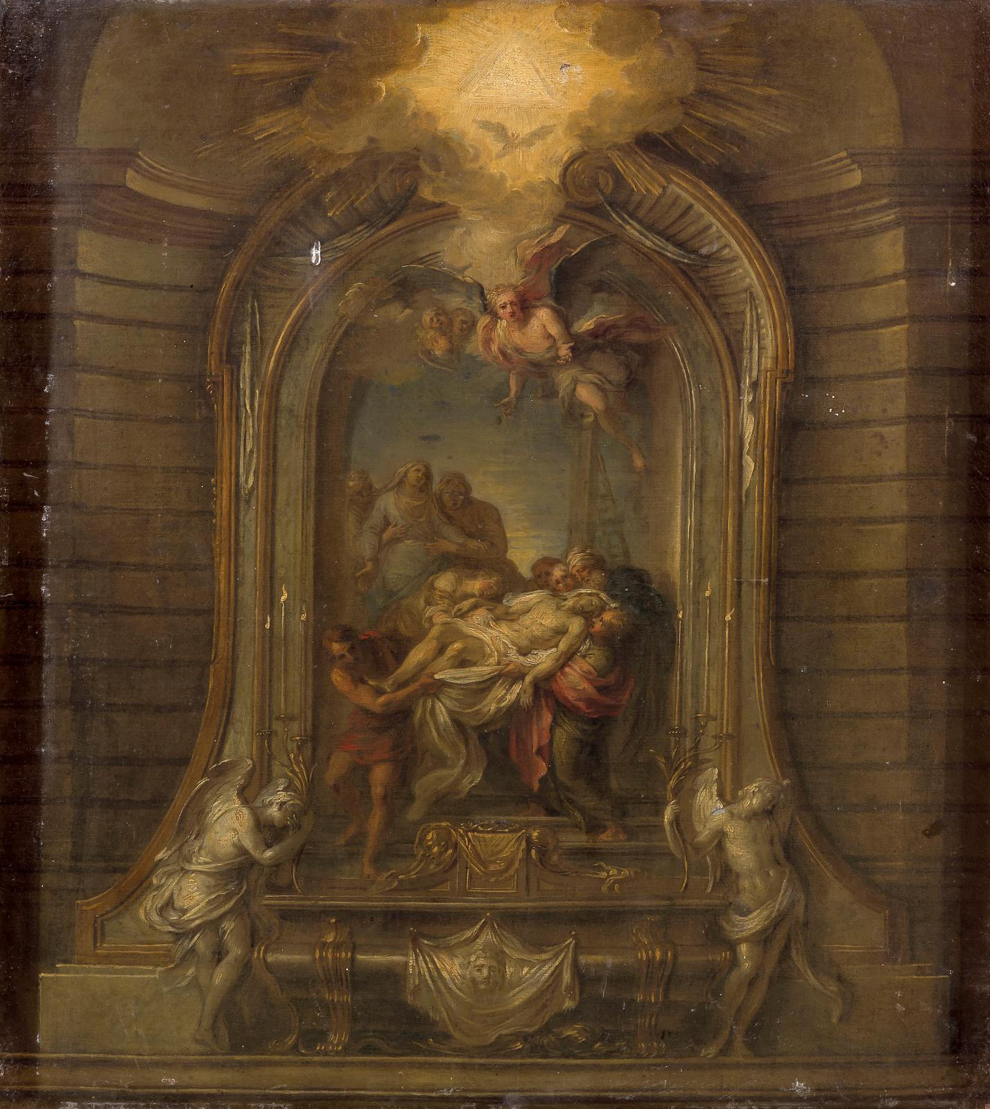 """Charles Antoine Coypel (1694-1752), La Mise au tombeau (""""The Entombment""""), oil on canvas, 67 x 57 cm (approx. 26.4 x 22.4 in)Result: €67.6"""