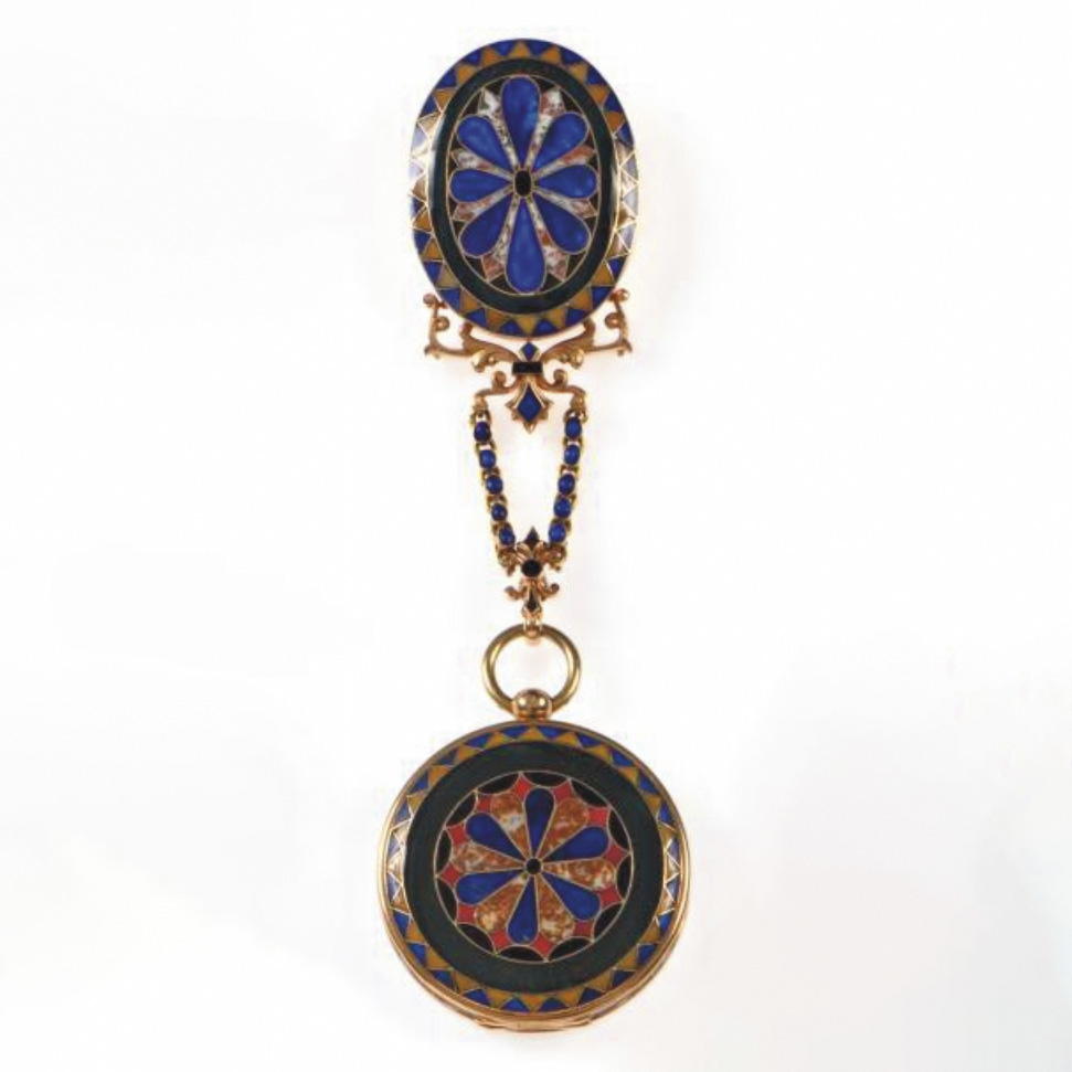 """€18,900Early 19th century, pocket watch signed """"Lepaute & Fils"""" and chatelaine in yellow gold, decorated with hardstone marquetry, gross w"""