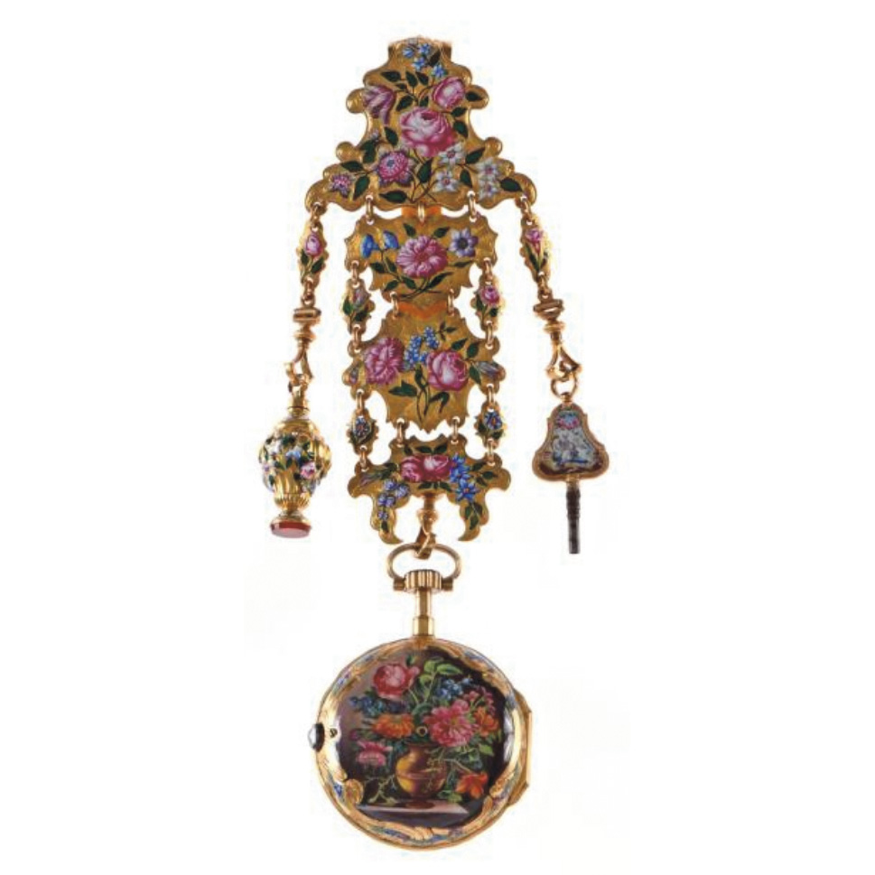 €10,08018th century, pocket watch with movement by Leroy in Paris and chatelaine in chased, partially enameled yellow gold decorated with