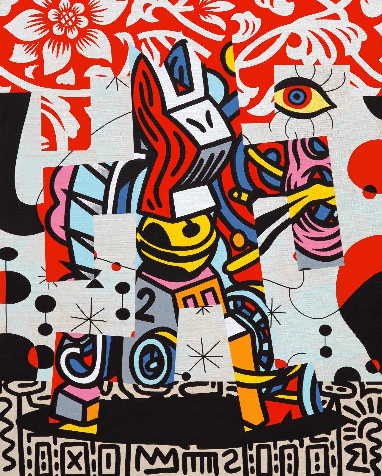 Speedy Graphito, Escapade, 2020, acrylique sur toile, 81 x 65 cm. COURTESY GALERIE POLARIS