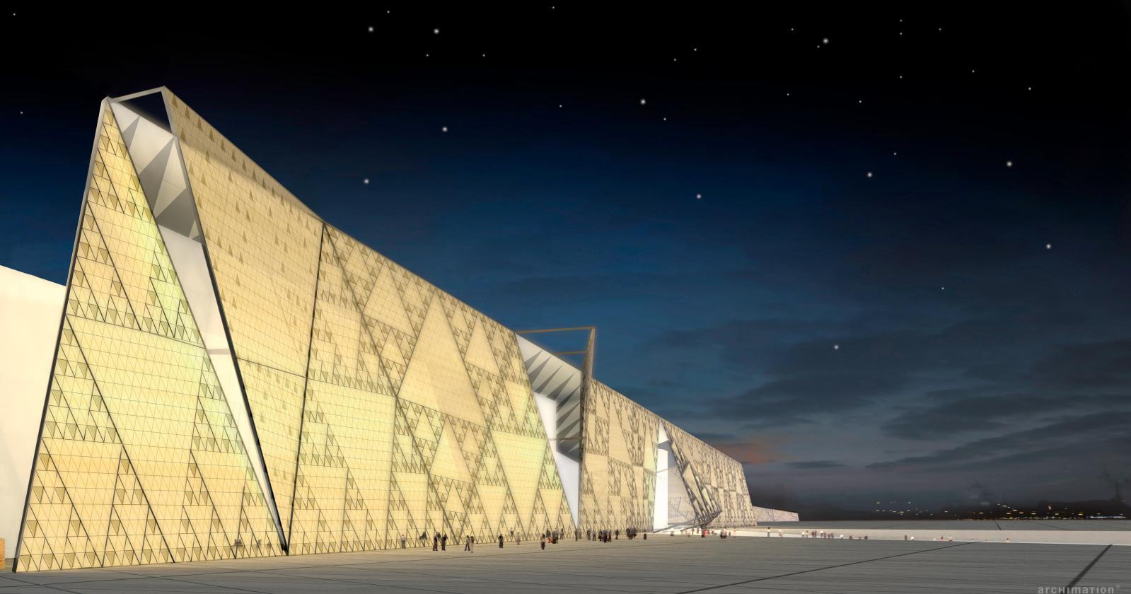 Simulation 3D de la façade du grand musée égyptien, animé de triangles évoquant les pyramides, reprenant une formule mathématique: le triangle de Sie