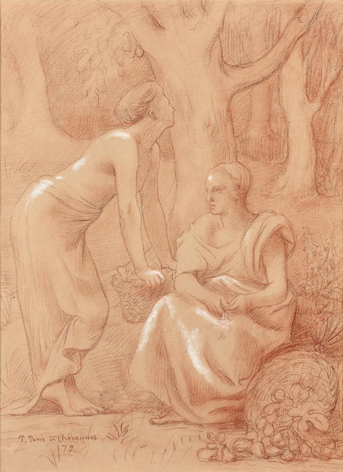 Pierre Puvis de Chavannes (1824-1898), La Cueillette des figues, 1879, sanguine rehaussée de blanc, 40x29,5cm (à vue), 40,5x32cm (la