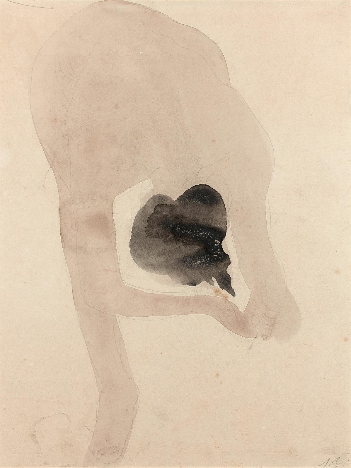 Auguste Rodin (1840-1917), Femme nue penchée en avant, vers 1896-1898, aquarelle et graphite, 32x24,5cm. Estimation: 6000/10000€