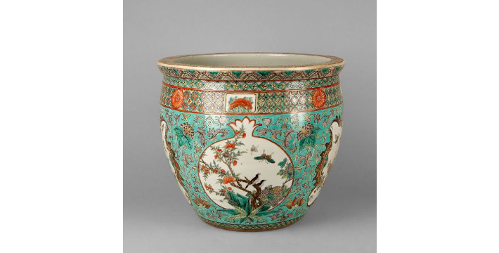 €1,054China, late 19th-early 20th century. Porcelain aquarium embellished with birds on branches and longevity peaches, the interior decor