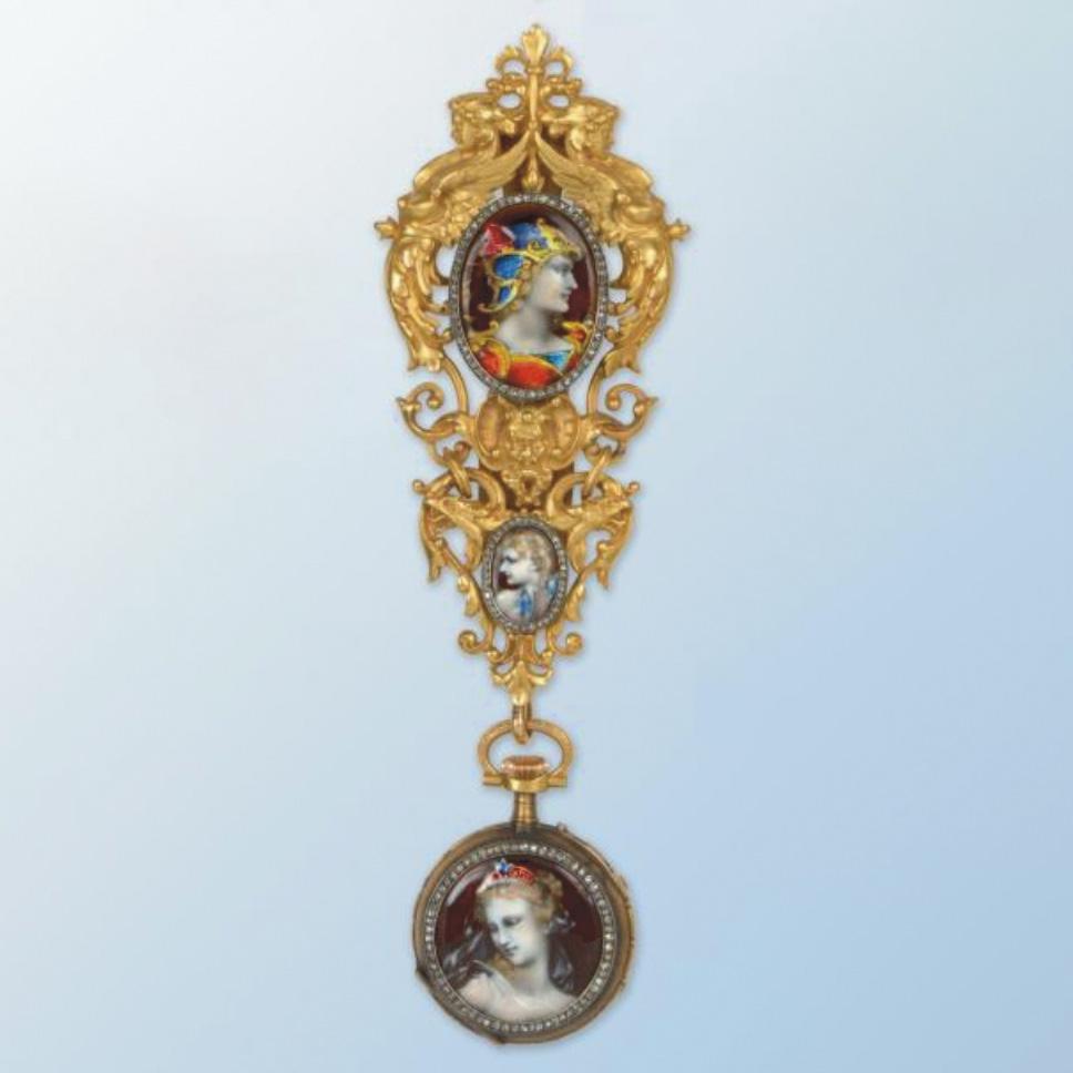 27280€ Alphonse Fouquet, Paris, XIXesiècle, châtelaine en or et argent ornée de deux miniatures émaillées bordées de diamants taillés e