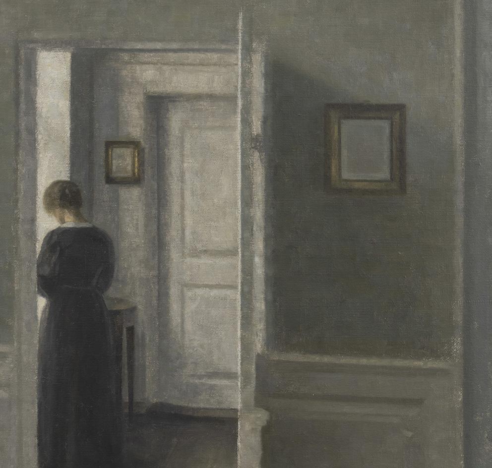 Vilhelm Hammershøi, Interior with a Woman Standing (Intérieur avec une femme debout), 1913, huile sur toile, 67,5x54,3cm. Di Donna Gall