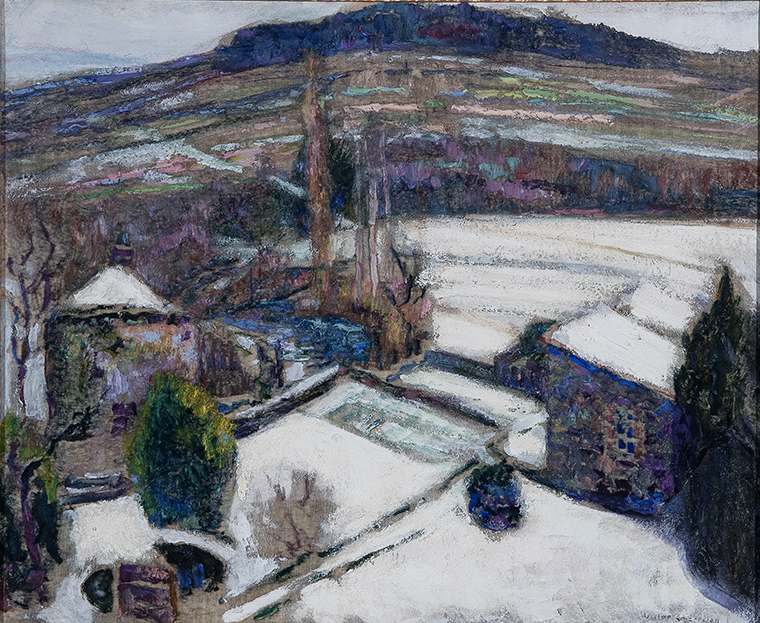 Victor Charreton, Jardin sous la neige,huile sur finette, 60x73cm, détail. Chamalières, 9 juillet 2020.Vassy-JalenquesOVV. Adjugé:
