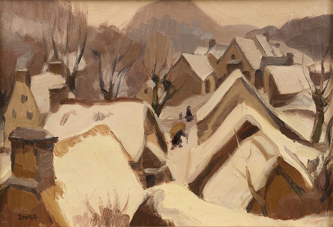 Jules-Émile Zingg(1882-1942), Neige à Groire, près de Murols, 1932, huile sur toile, 38,5x55cm (détail). Drouot, 22 septembre 2020. Ma
