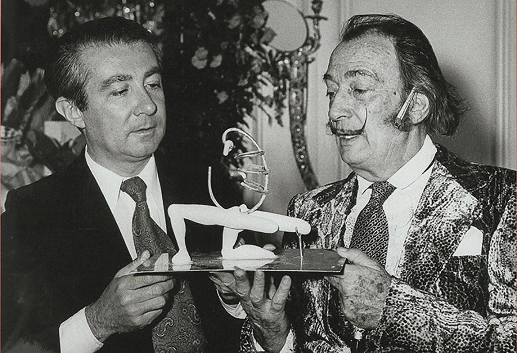 Salvador Dalí et André-François Petit à l'hôtel Meurice dans les années 1960. Photo Bénédicte Petit