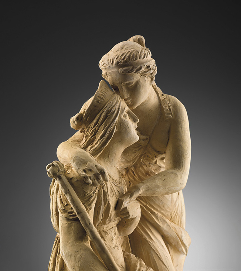 Rinaldo Rinaldi, Justice and Peace Embrace, 1845, terracotta, 56 x 26 x 19 cm (22 x 10,2 x 7,4 in), Walter Padovani.