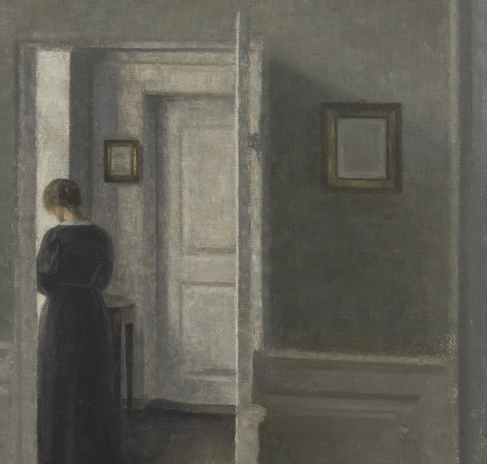 Vilhelm Hammershøi, Interior with a Woman Standing, 1913, oil on canvas, 67,5 x 54,3 cm (26,5 x 21,3 in), Di Donna Galleries, sold 5 M$.