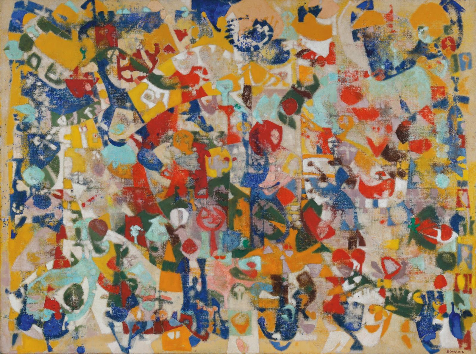 Acquise directement dans l'atelier de Joe Downing(1925-2007), à Ménerbes dans le Luberon, où l'artiste a fini sa vie, cette huile sur toi