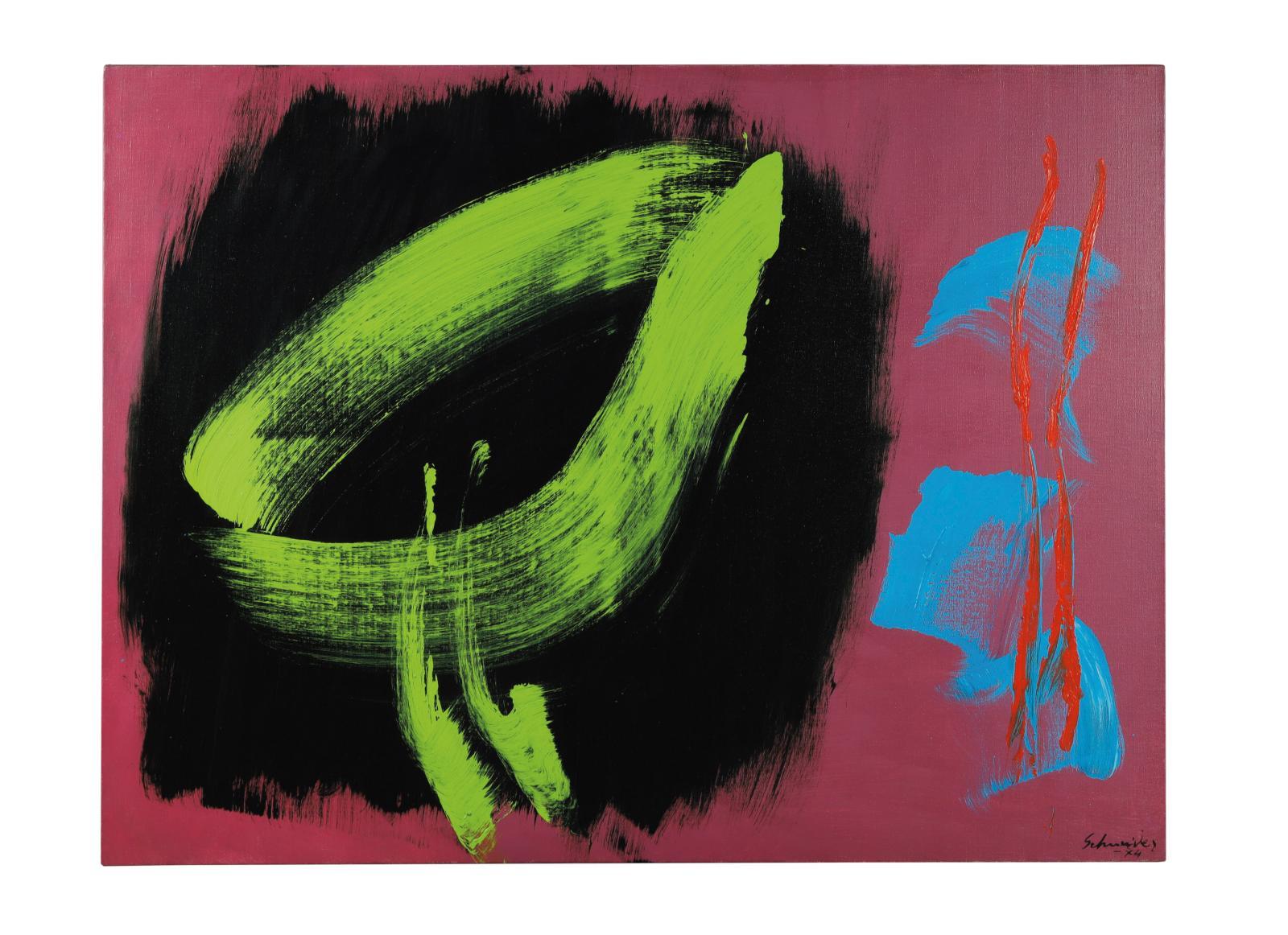 Gérard Schneider (1896-1986) est présent dans cette collection au travers de plusieurs œuvres, dont cet acrylique sur toile signé et daté