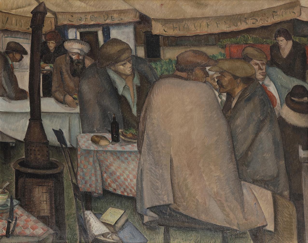 Anthony Angarola(1893-1929), Café des chauffeurs, 1929, huile sur toile, 81x100cm. Adjugé: 32000€