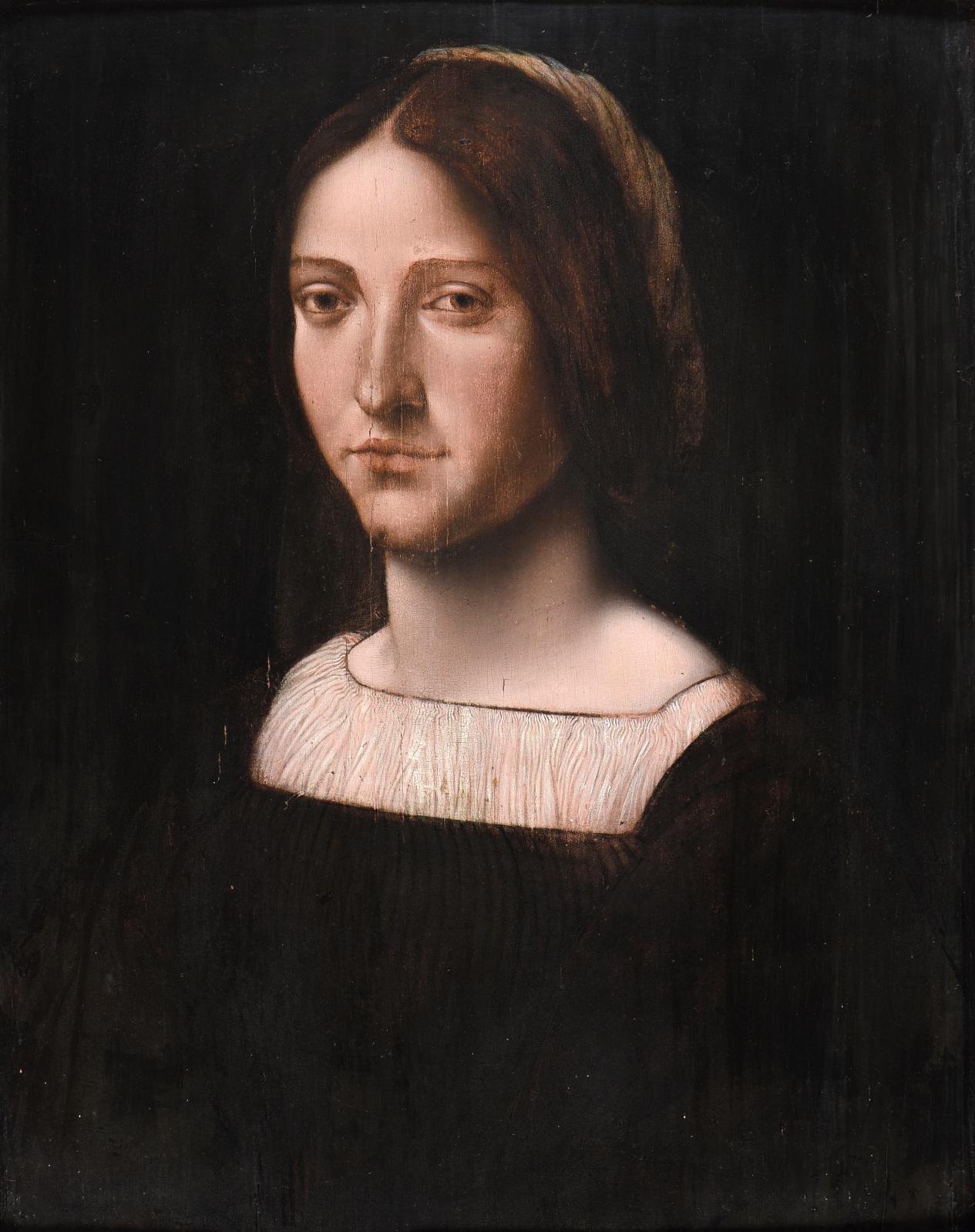 École lombarde, première moitié du XVIesiècle, Portrait de jeune femmeà la coiffe tressée de couleurs à l'arrière de sa chevelure brune,