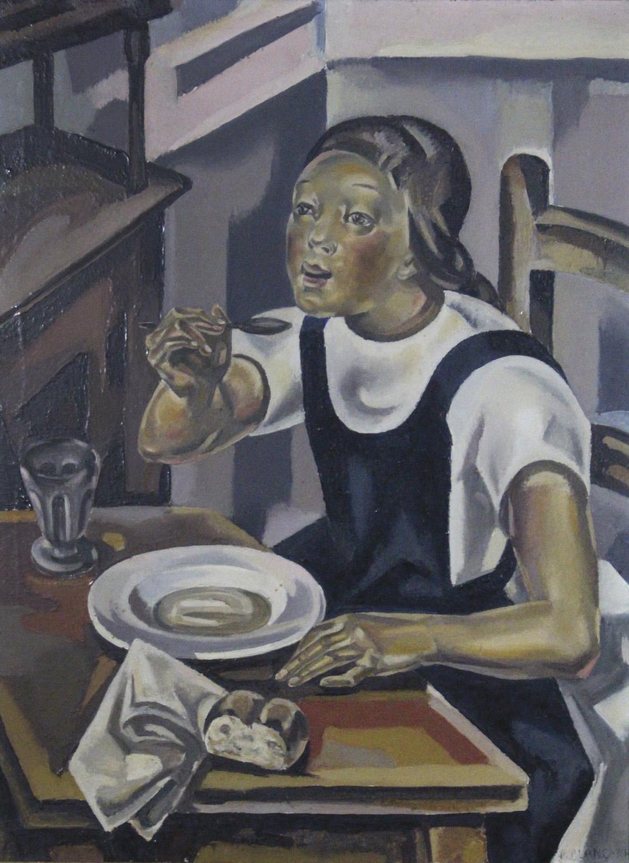 Maria Blanchard (1881-1932), La Fillette à la soupe,1924, huile sur toile signée, 82x60cm. Adjugé : 76800€