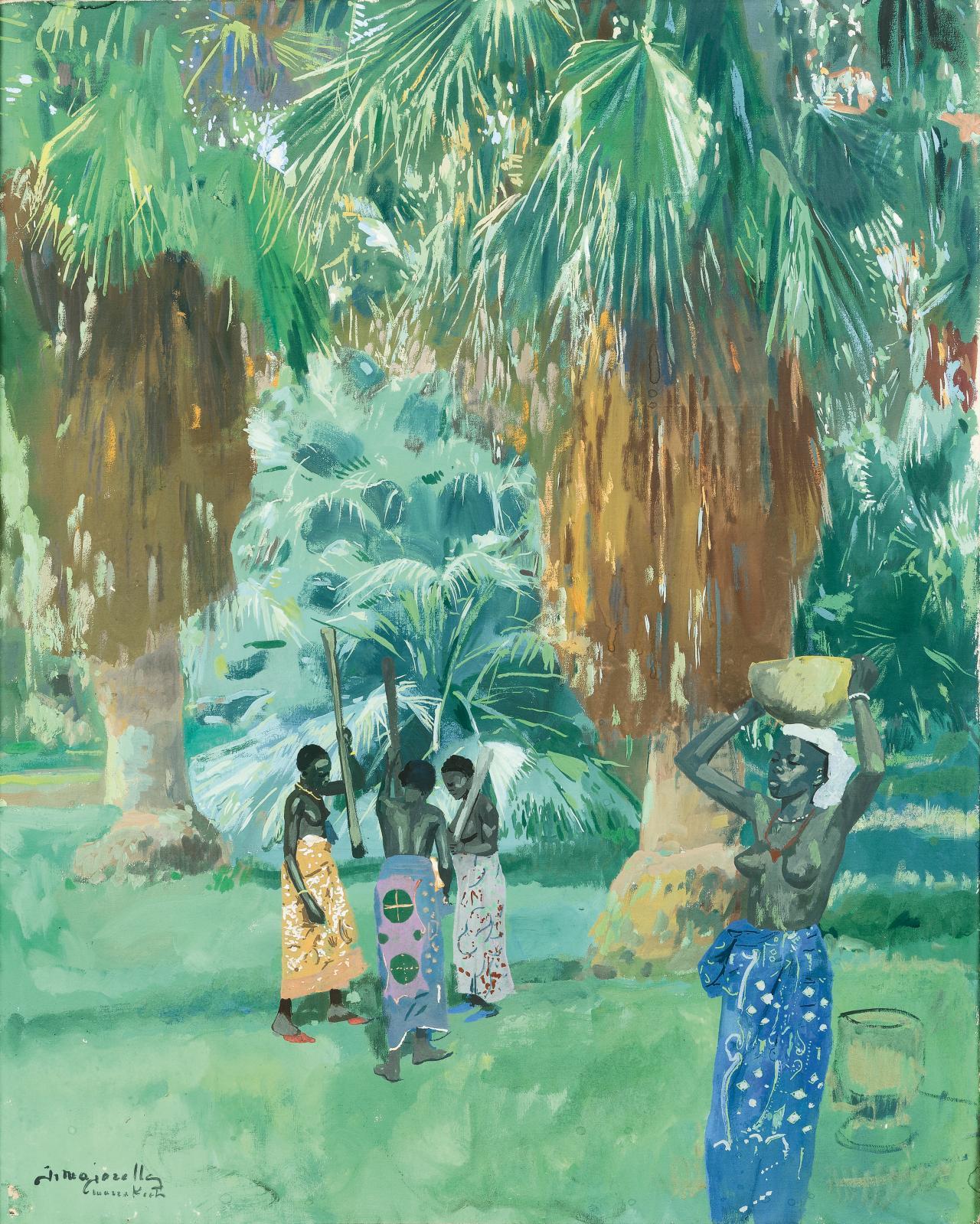 Jacques Majorelle, Pileuses de mil dans la palmeraie de Marrakech,vers 1947, huile sur toile, signéeet située, 92x74cm. Adjugé: 6572