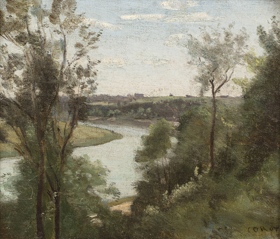 Camille Corot (1796-1875), Une rivière vue de haut à travers les arbres, vers 1850-1855 (A River Seen From Above Through the Trees, c. 185
