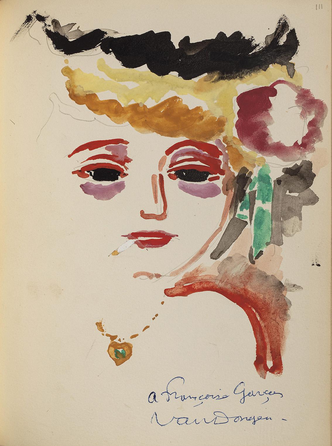 Kees Van Dongen (1877-1968), Portrait, aquarelle, 25,5x19cm (détail), dédicacé au stylo à bille à Françoise Garçon-Lhermitte. (faisant