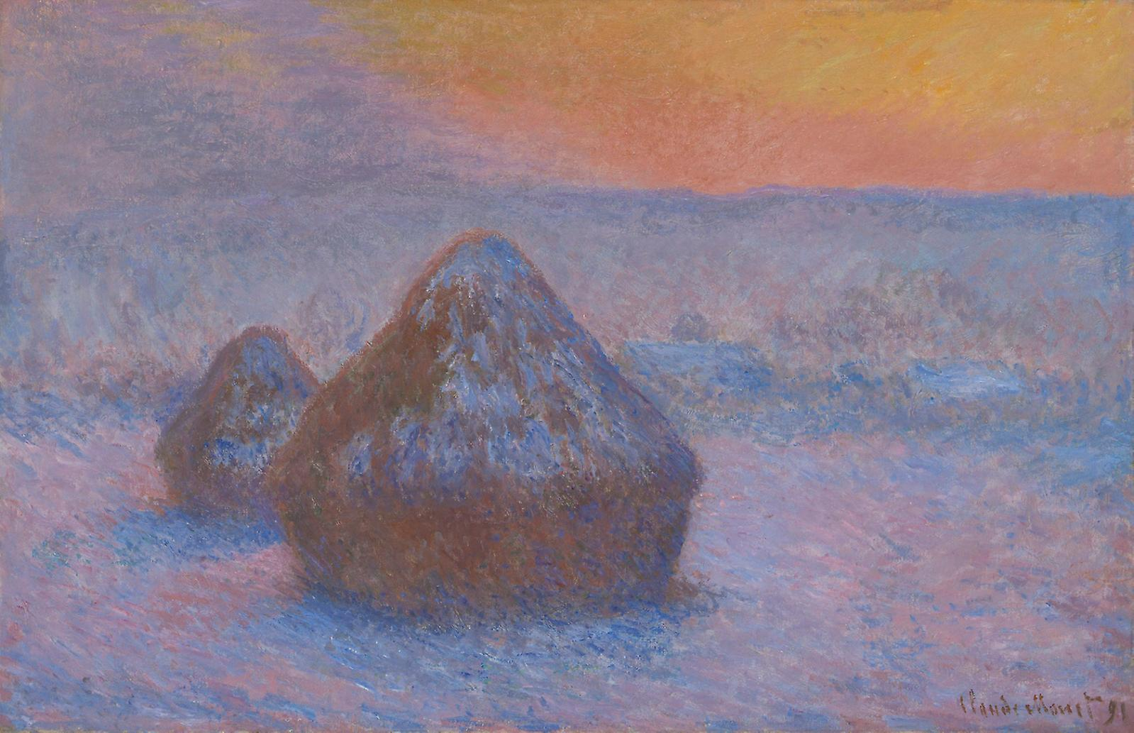 Claude Monet, Stacks of Wheat (Sunset, Snow Effect), 1890-91, oil on canvas.Courtesy of The Art Institute of Chicago, Potter Palmer Collec