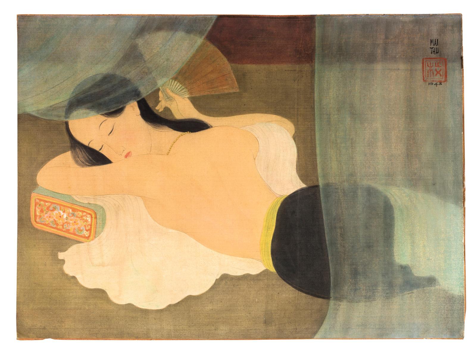 À côté des sujets sur le thème de l'enfance, la beauté féminine est l'un des sujet de prédilection de Mai Trung Thu (1906-1980). Vietnamie