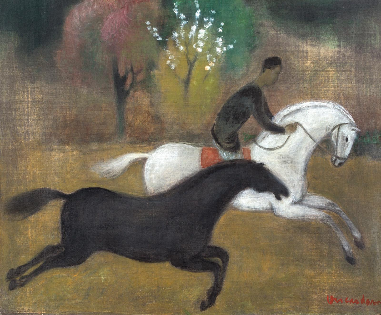 Il est rare que Vu Cao Dam (1908-2000) prenne les chevaux pour sujet principal, comme c'est le cas ici avec ces deux étalons représentés e
