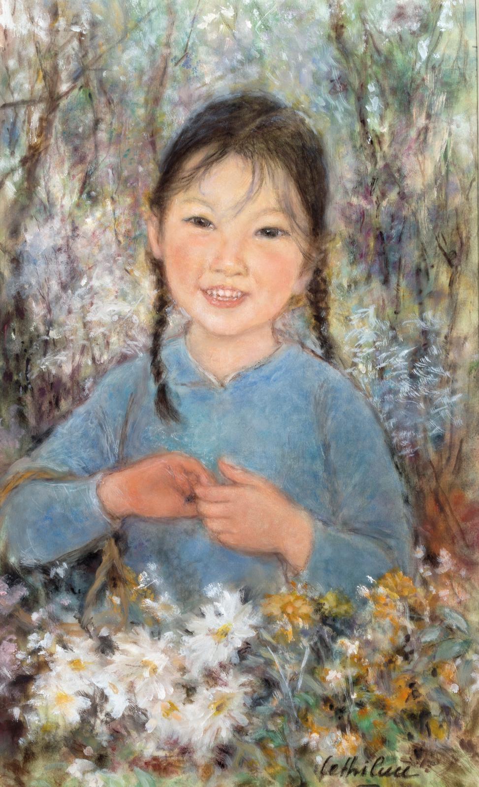 Cette gouache et encre sur soie d'une Fillette aux nattes avec son panier de fleurs distille tout le charme de l'Asie (33,1x20cm). Elle