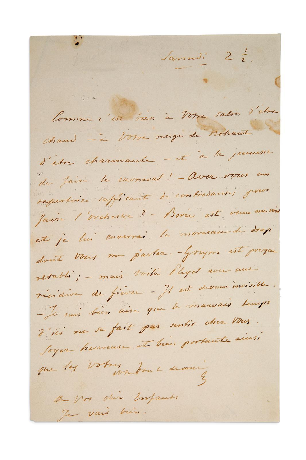 Cette lettre, adressée par FrédéricChopin (1810-1849) à George Sand,en 1846, est l'une des rares à ne pas avoir été brûlées par celle-ci