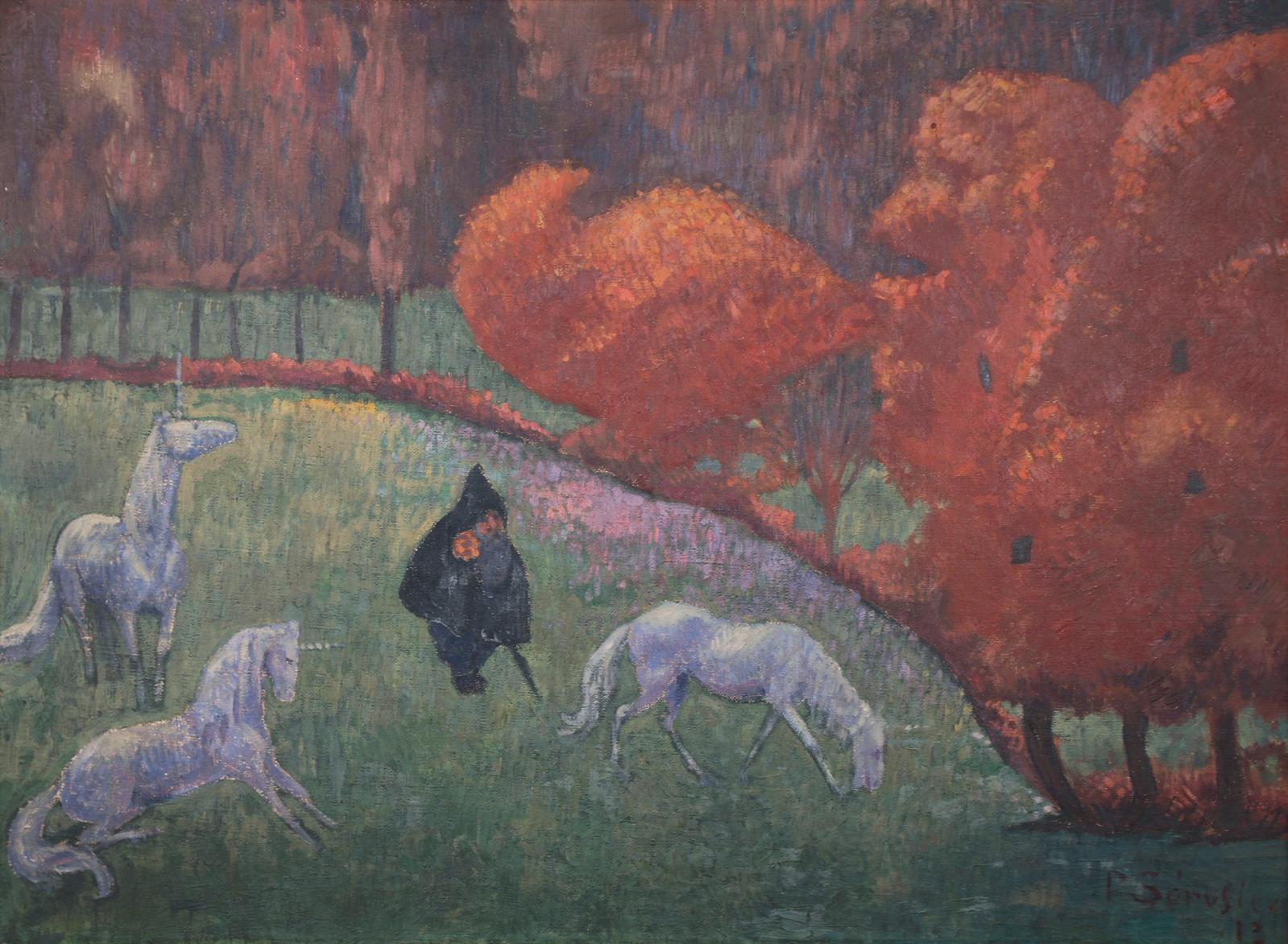 Tout l'univers onirique de Paul Sérusier(1864-1927)est résumé dans Les Licornes, toile signée et datée 1913(60x81cm), ici annoncée à