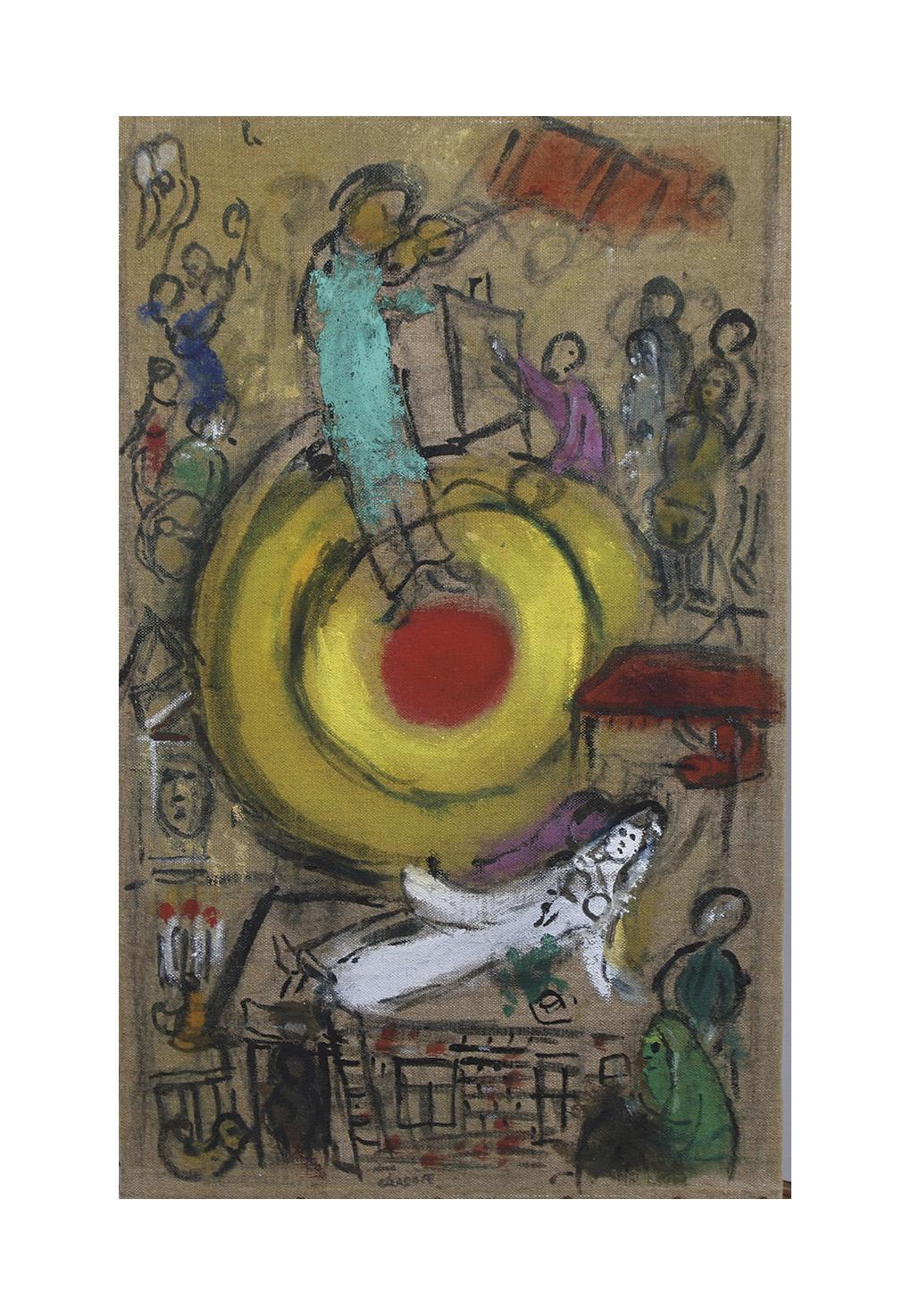 Pas moins de 280000/320000€ seront à envisager pour décrocher cette huile et encre de Chine sur toile peinte par Marc Chagall(1887-198