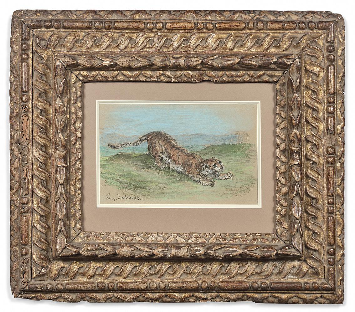 Eugène Delacroix(1798-1863), Tigre prenant son élan, 1848, pastel, 14x21,5cm (à vue), 15x22cm (feuille). Adjugé: 95000€
