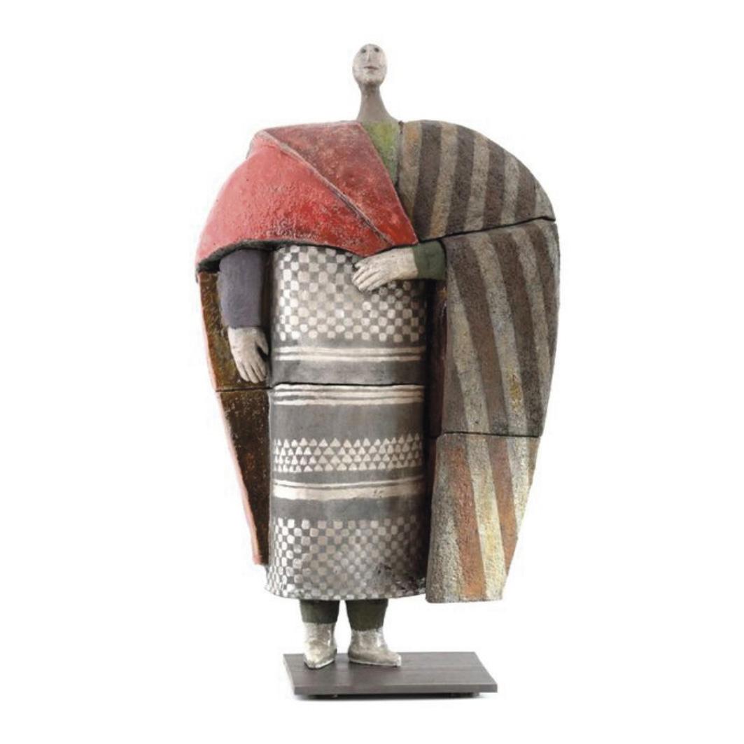 7800€ Roger Capron, Personnage à l'antique, céramique, émail, engobes, socle métallique, h.83cm.Cannes, 28septembre 2020. Azur Enchèr