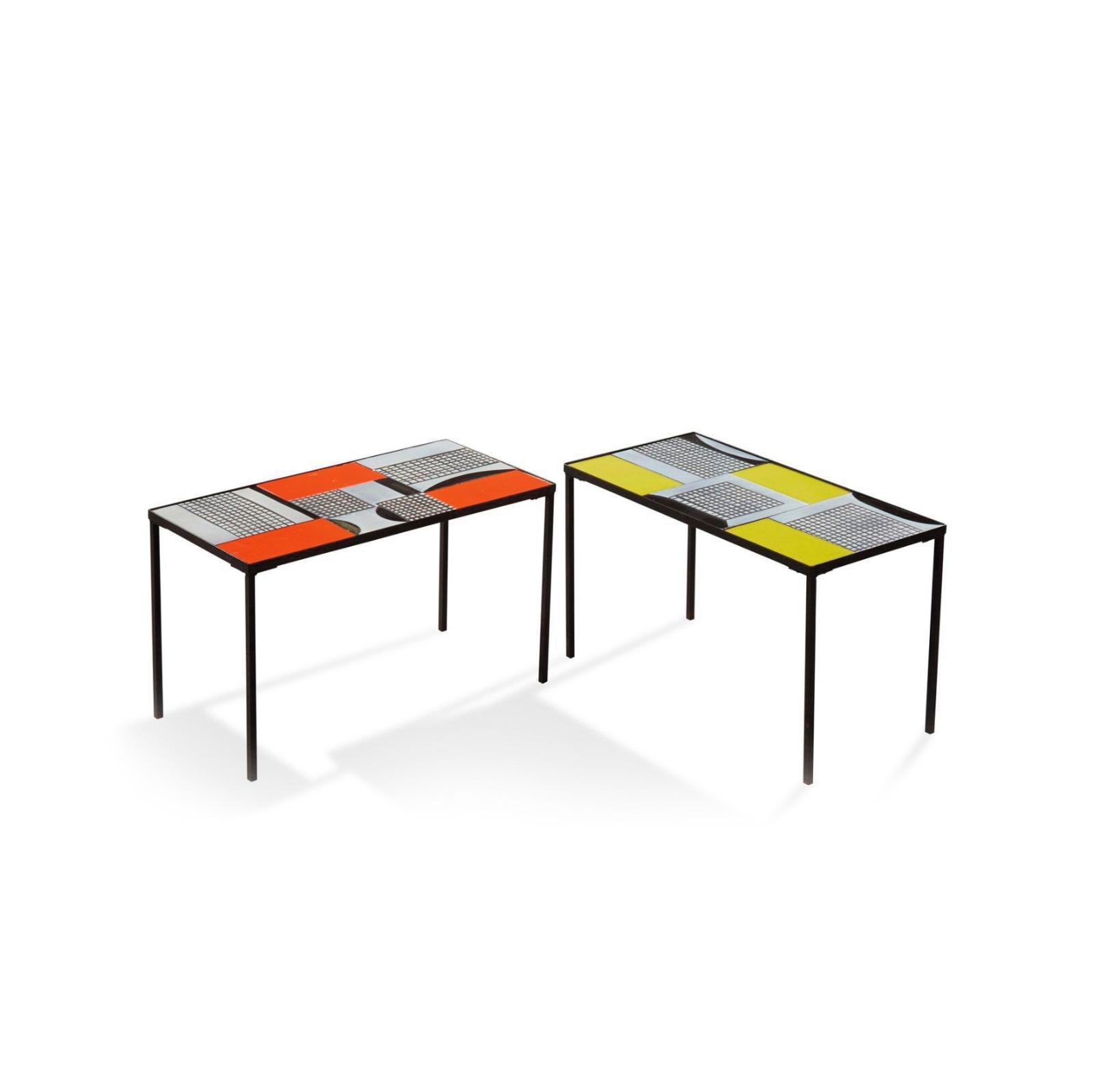 6630€ Roger Capron, vers1950-1960, paire de tables basses à plateau rectangulaire en carreaux de céramique polychrome, piétement en mét