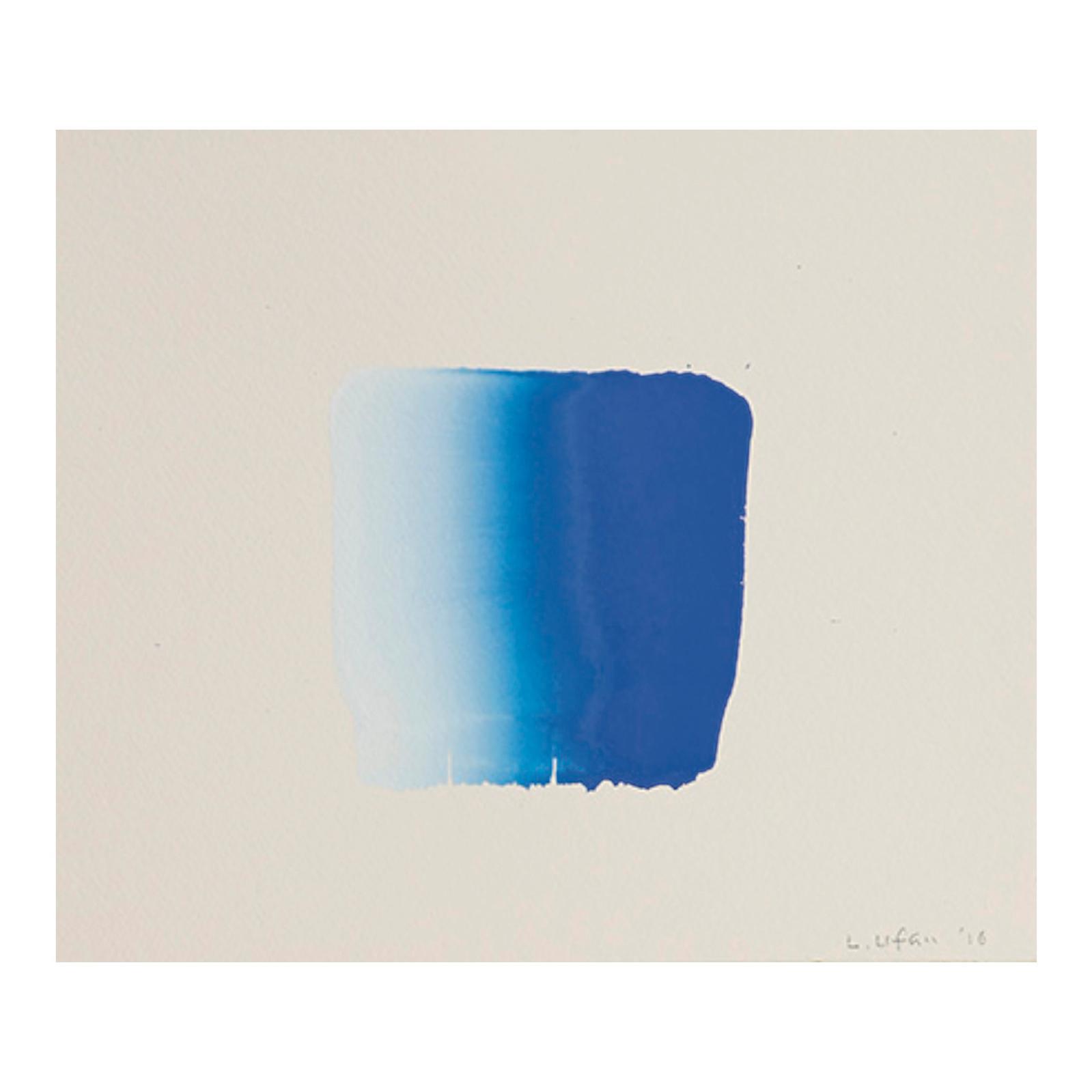 10483€ Lee Ufan(né en 1936), Dialogue bleu, 2016, aquarelle sur papier, signée et datée, 27x 30cm.Paris, 20octobre 2016. FauveParis