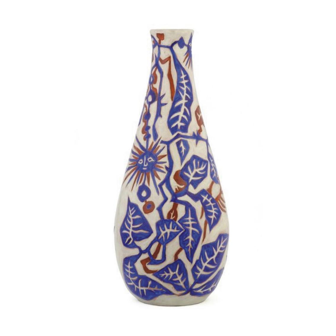 11700€ Jean Lurçat et Sant Vicens, vase piriforme en céramique à décor de feuillages et soleil, h.79cm.Juan-les-Pins, Hôtel Belles Riv