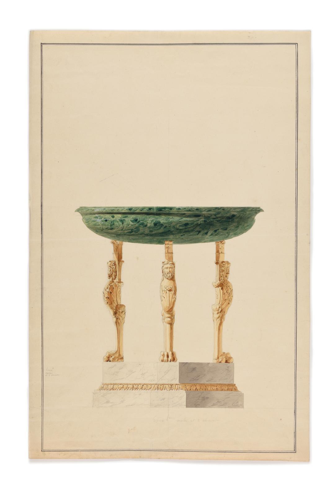 Cette aquarelle et lavis sur trait à la mine de plomb (45,5x30cm), de Charles Percier (1764-1838), présentée le lundi7, est une étude