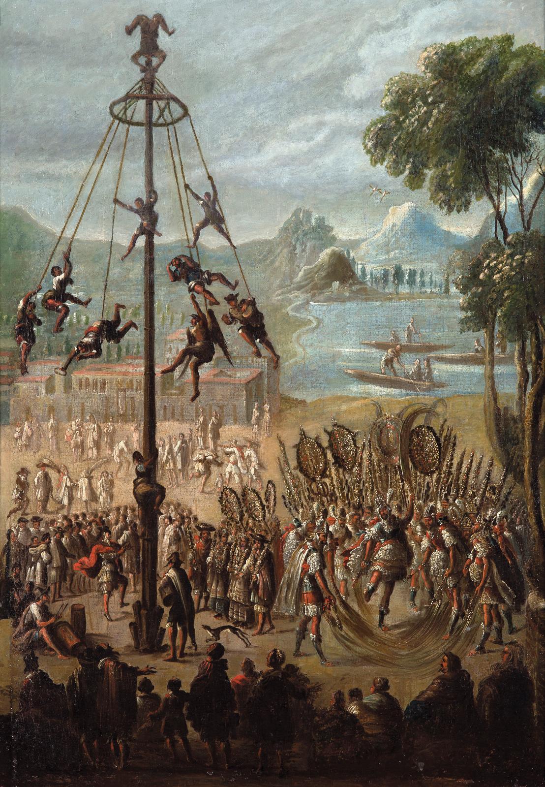École coloniale du XVIesiècle, La Danse du volador, huile sur toile, 72,5x52,5cm. Estimation: 60000/80000€