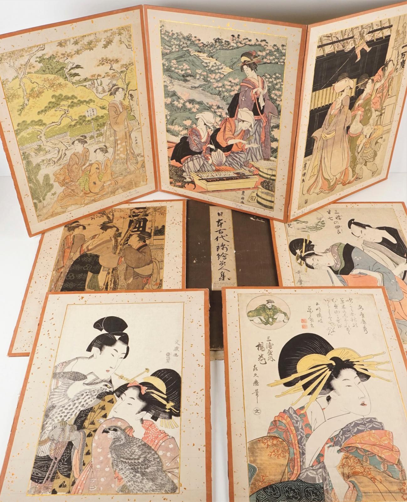 Recueil de dix estampes oban tate-e, intitulé Choix de vieilles estampes japonaises de l'école ite Ukiyo-e, probablement époque Meiji. Adj
