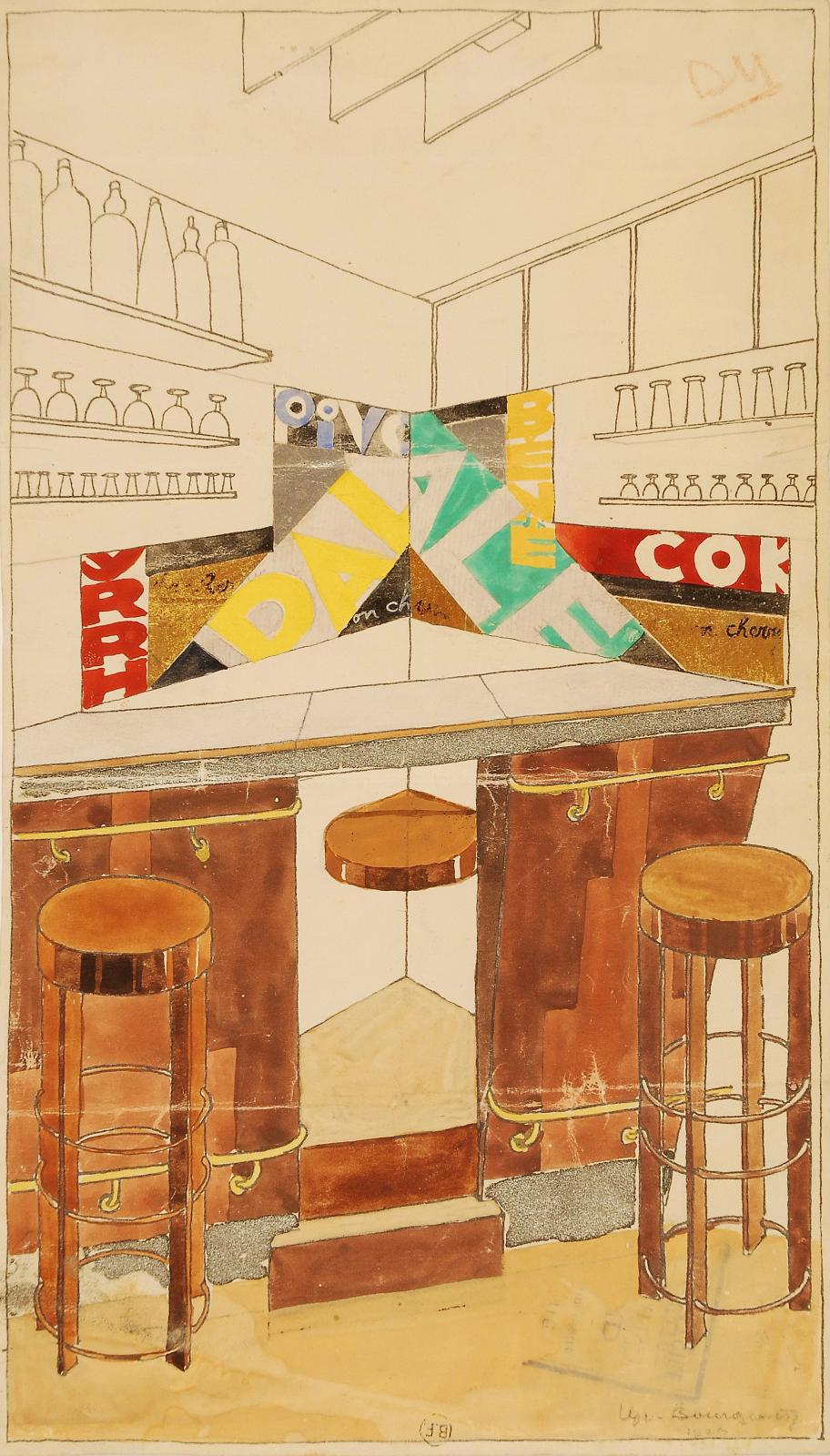 Bar at the house of Vicomte de Noailles, drawing and painting. Archives Djo-Bourgeois.Photo courtesy of Ville de Paris, Bibliothèque Forne